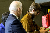 Welding student Chris Scales demostrates advanced robotic techniques to VP Biden