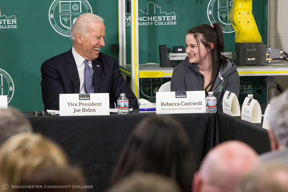 Vice President Biden shares a laugh with Welding student Rebecca Cantwell